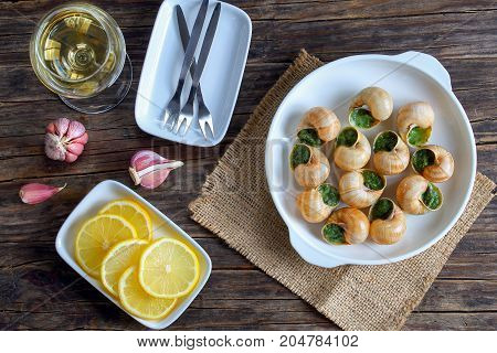 Snails With Herbs Butter Garlic, Top View