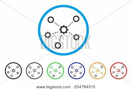 Gears Relations rounded icon. Style is a flat gears relations grey symbol inside light blue circle with black, gray, green, blue, red, orange color versions.