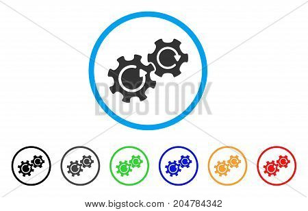Gears Rotation rounded icon. Style is a flat gears rotation grey symbol inside light blue circle with black, gray, green, blue, red, orange color versions.