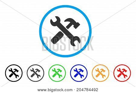 Hammer And Wrench rounded icon. Style is a flat hammer and wrench grey symbol inside light blue circle with black, gray, green, blue, red, orange variants.
