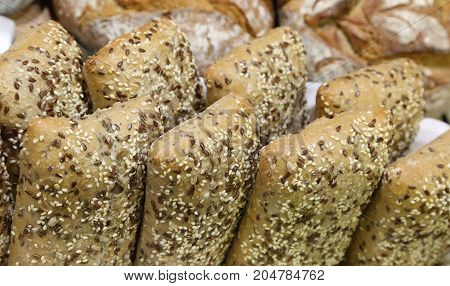 Loaves Of Bread Made With Whole Wheat To The Seeds And Cereals A
