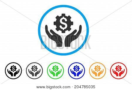 Maintenance Price rounded icon. Style is a flat maintenance price grey symbol inside light blue circle with black, gray, green, blue, red, orange versions.