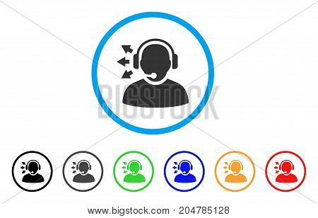Operator Answer Speech rounded icon. Style is a flat operator answer speech grey symbol inside light blue circle with black, gray, green, blue, red, orange color versions.