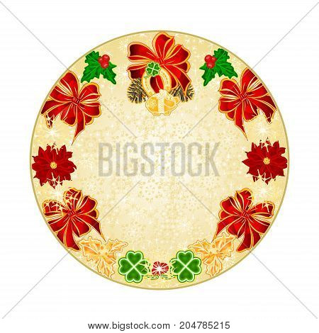 Button circle Christmas decoration snowflakes lucky symbols Four Leaf Clover horseshoe pig vintage vector illustration editable hand draw