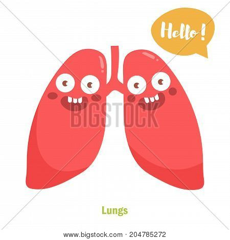 Vector cartoon lungs with face. Isolated art on white background. Flat