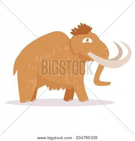 Mammoth. Isolated art on white background. Vector. Cartoon Flat