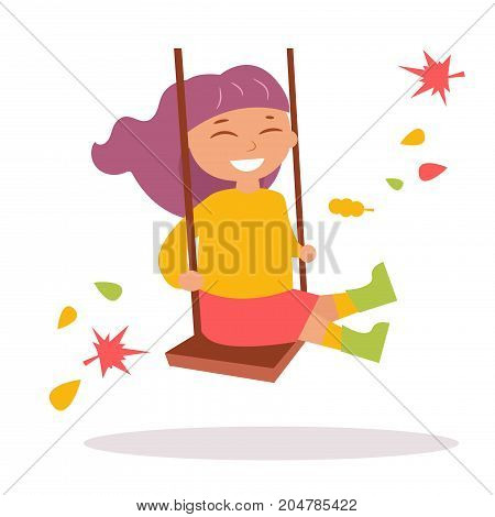 Girl swinging on a swing in autumn. Isolated art on white background. Vector. Cartoon. Flat