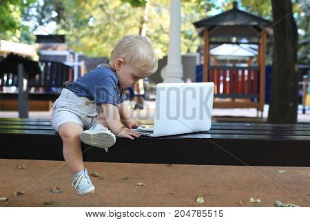 Little boy is sitting on the bench with laptop