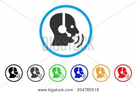 Operator Speech Sound Waves rounded icon. Style is a flat operator speech sound waves gray symbol inside light blue circle with black, gray, green, blue, red, orange color versions.