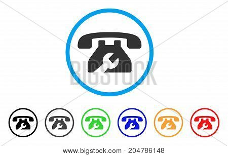 Repair Service Phone rounded icon. Style is a flat repair service phone grey symbol inside light blue circle with black, gray, green, blue, red, orange versions.