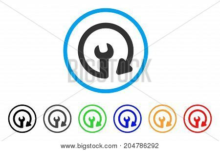 Repeat Service rounded icon. Style is a flat repeat service gray symbol inside light blue circle with black, gray, green, blue, red, orange variants. Vector designed for web and software interfaces.