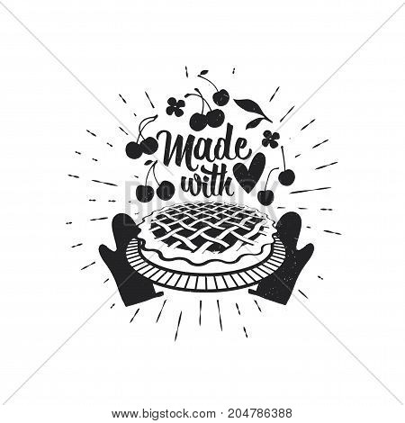 Made with Love. Just like Mom used to make. Vector calligraphy.
