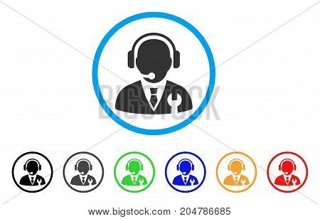 Service Manager rounded icon. Style is a flat service manager gray symbol inside light blue circle with black, gray, green, blue, red, orange color versions.