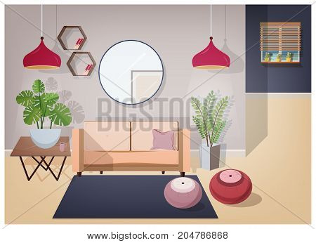 Interior of living room furnished with stylish comfortable furniture and home decorations - cozy sofa, coffee table, house plants, lamps, mirror, carpet and poufs. Vector illustration in flat style