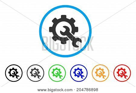 Service Tools rounded icon. Style is a flat service tools gray symbol inside light blue circle with black, gray, green, blue, red, orange versions. Vector designed for web and software interfaces.
