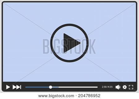 Video player on white background, vector illustration