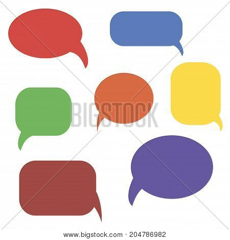 Collection of colorful speech bubbles, vector illustration