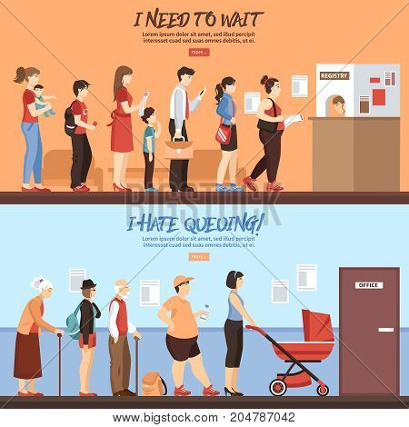 Queue horizontal banners set with people and registry service flat isolated vector illustration