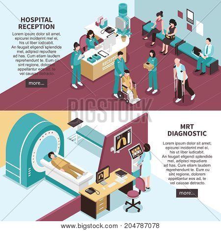 Hospital banners set with hospital reception symbols horizontal isometric isolated vector illustration