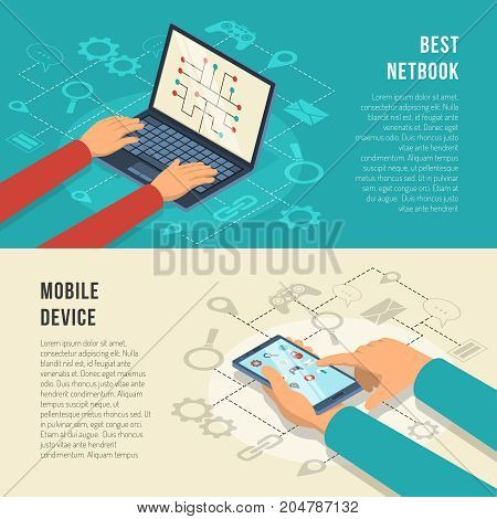Internet of things horizontal banners with hands working at mobile device including netbook isolated vector illustration