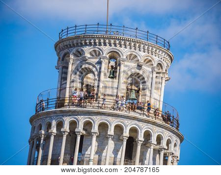 Top of the famous tower of Pisa - important landmark in Tuscany - PISA TUSCANY ITALY - SEPTEMBER 13, 2017