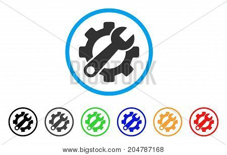 Service Tools rounded icon. Style is a flat service tools grey symbol inside light blue circle with black, gray, green, blue, red, orange versions. Vector designed for web and software interfaces.