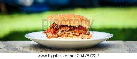 Pulled Pork Sandwich Burger Is Served With Nature Background.