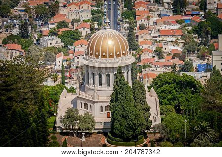 HAIFA, ISRAEL. September 16, 2017. The Bahai temple and Bahai gardens in Haifa as seen from the top. The Shrine of the Bab on the slopes of the Carmel Mountain, Terraces of the Bahá'í Faith.