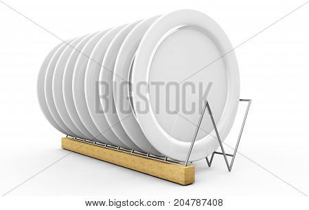 White blank plate mock up holder isolated. Empty dish mockup stand. Clear tableware ready for pattern texture art or ornament presentation. 3d render