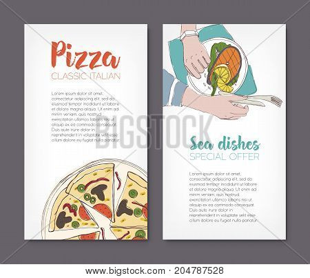 Set of flyer templates with colorful drawings of classical pizza and grilled salmon steak on plates and place for text. Hand drawn vector illustration for pizzeria or seafood restaurant advertisement