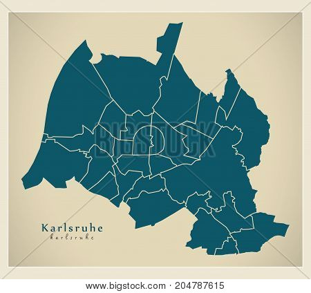 Modern City Map - Karlsruhe City Of Germany With Boroughs De