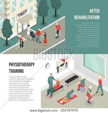 Rehabilitation center and physiotherapy training isometric horizontal banners with people figurines leaving health care facility and performing exercises vector illustration