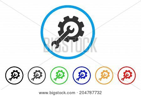 Setup Tools rounded icon. Style is a flat setup tools grey symbol inside light blue circle with black, gray, green, blue, red, orange color versions. Vector designed for web and software interfaces.