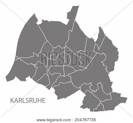 Karlsruhe City Map With Boroughs Grey Illustration Silhouette Shape
