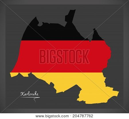 Karlsruhe Map With German National Flag Illustration