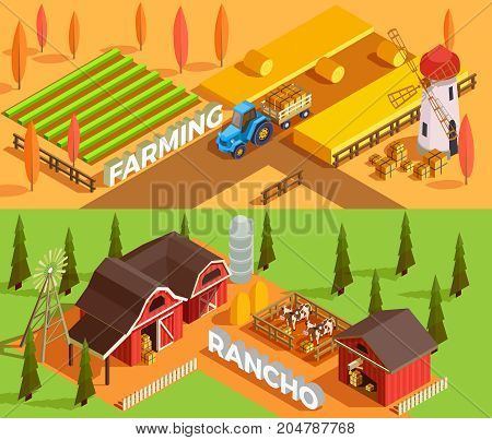 Isometric horizontal farm banners with farmhouses agricultural vehicles domestic animals and mills 3d isolated vector illustration