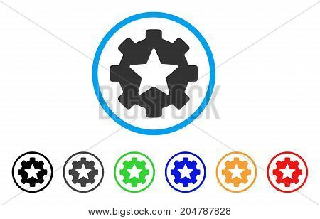 Star Favorites Options Gear rounded icon. Style is a flat star favorites options gear gray symbol inside light blue circle with black, gray, green, blue, red, orange color versions.