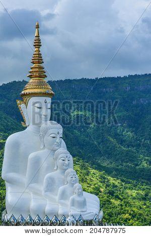 Beautiful white five Buddha Images at Phasornkaew Buddhist temple travel destination in Phetchabun Thailand
