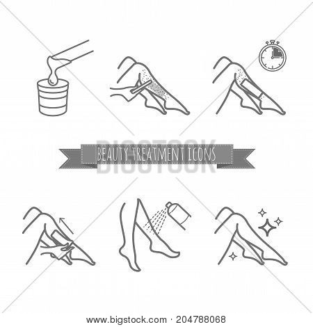 Removing leg hair by using sugaring or strip wax. Beauty treatment icons set for your design