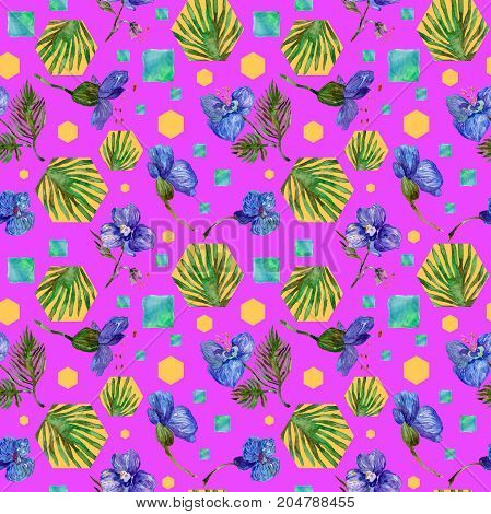 Wildflower orchid flower pattern in a watercolor style. Full name of the plant: tropical orchid. Aquarelle wild flower for background, texture, wrapper pattern, frame or border.