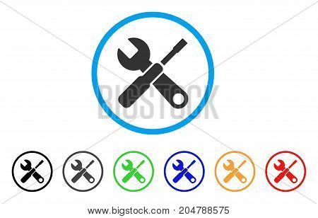 Tools rounded icon. Style is a flat tools gray symbol inside light blue circle with black, gray, green, blue, red, orange color versions. Vector designed for web and software interfaces.