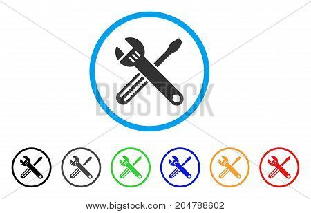 Tools rounded icon. Style is a flat tools grey symbol inside light blue circle with black, gray, green, blue, red, orange color versions. Vector designed for web and software interfaces.