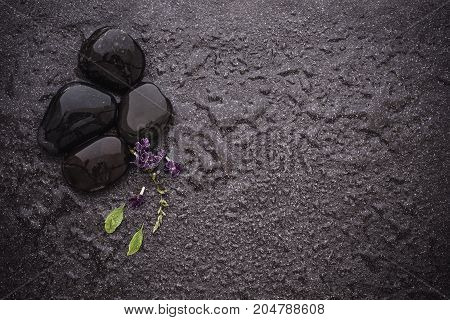 black stone with green leaf and small cute purple flower decoration on stone plate background with copy space for spa and meditation concept background