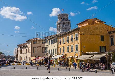The historic city center of Pisa - PISA TUSCANY ITALY - SEPTEMBER 13, 2017