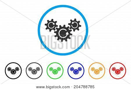Transmission Wheels Rotation rounded icon. Style is a flat transmission wheels rotation gray symbol inside light blue circle with black, gray, green, blue, red, orange versions.
