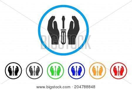 Tuning Screwdriver Care Hands rounded icon. Style is a flat tuning screwdriver care hands gray symbol inside light blue circle with black, gray, green, blue, red, orange variants.