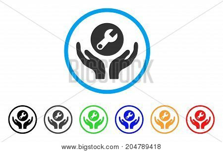Wrench Maintenance rounded icon. Style is a flat wrench maintenance gray symbol inside light blue circle with black, gray, green, blue, red, orange color versions.