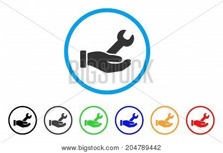 Wrench Service Hand rounded icon. Style is a flat wrench service hand grey symbol inside light blue circle with black, gray, green, blue, red, orange variants.