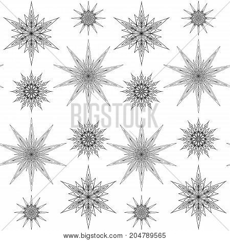 Seamless pattern, background with decorative stars. Stock line vector illustration. Outline hand drawing. Coloring page for adult coloring book.