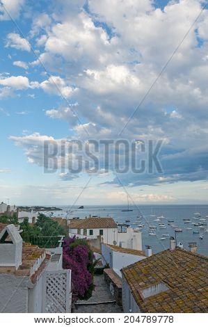 Panoramic View Of Cadaques On Mediterranean Seaside, Spain